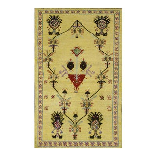 Vintage Turkish Oushak Rug with Modern Style, Yellow Oushak Rug