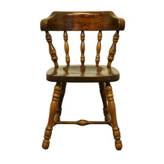 1970s Early American Ethan Allen Antiqued Pine Old Tavern Dining/Accent Chair For Sale