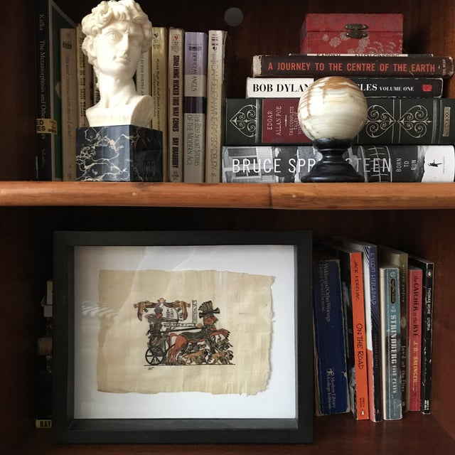 Framed Egyptian Chariot on Papyrus For Sale - Image 4 of 5
