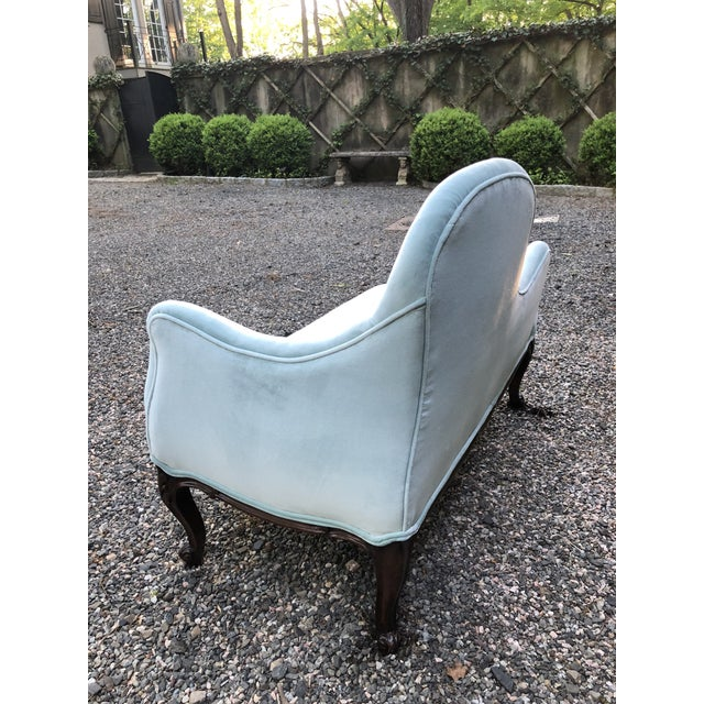 Textile 1970s Vintage Tiffany Blue Curvy Settee For Sale - Image 7 of 10