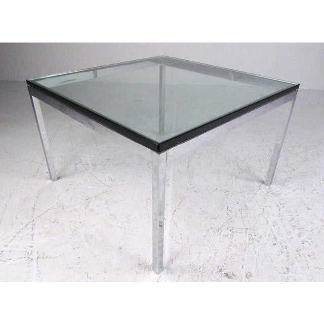 This stylish pair of vintage modern tables feature chrome and beveled glass construction, perfectly complimenting the mid-...