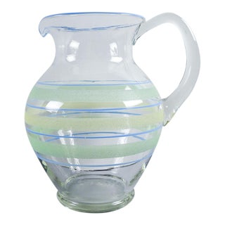 1930s Hand Blown Glass Pitcher For Sale