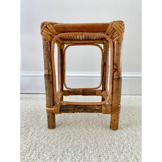 Beige Vintage Bamboo Rattan Plant Stand/Table Riser For Sale - Image 8 of 8
