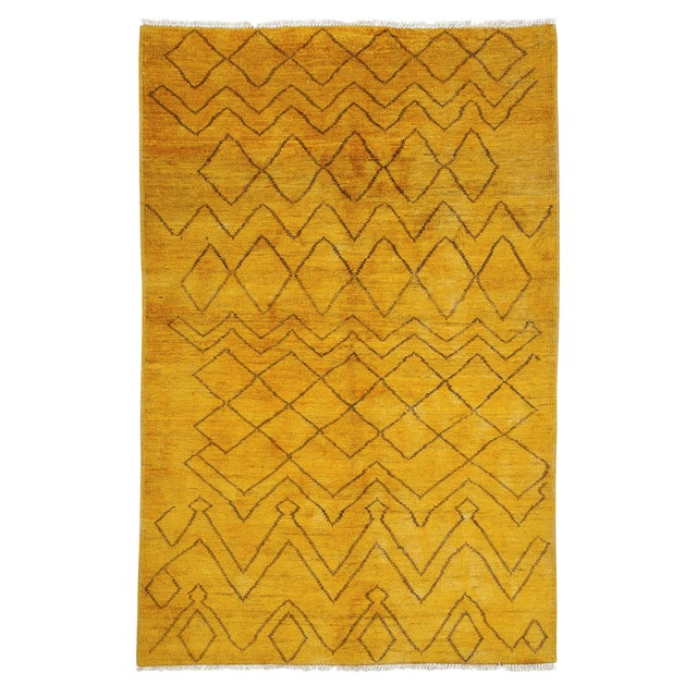 """Moroccan Hand Knotted Area Rug - 5'2"""" X 7'10"""" - Image 1 of 3"""