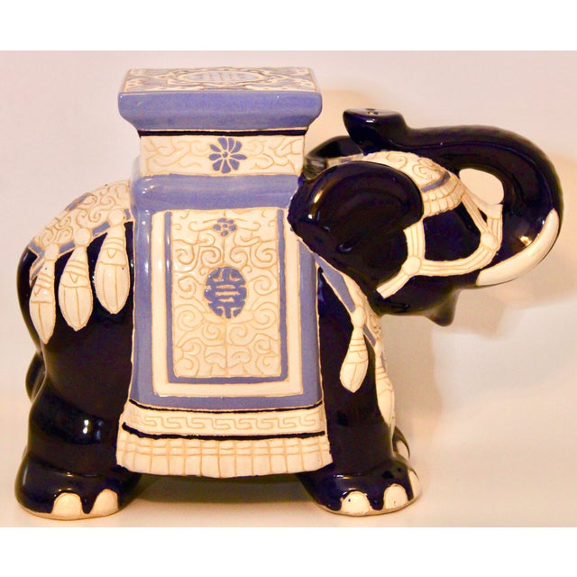 Vintage Blue and White Ceramic Elephant Garden Stool For Sale - Image 9 of 13