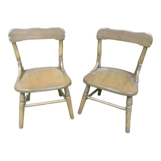 Early 20th Century Vintage Child's Oak Chairs- A Pair For Sale
