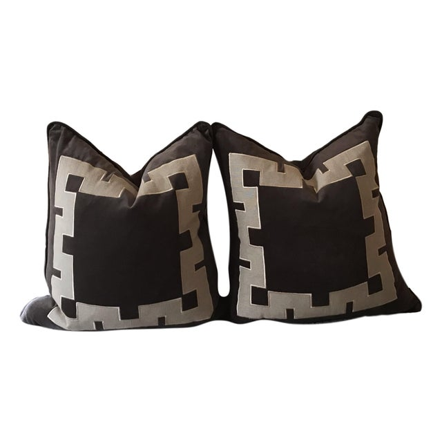 Gray Aegean Greek Key Square Velvet & Linen Pillow - A Pair - Image 5 of 5