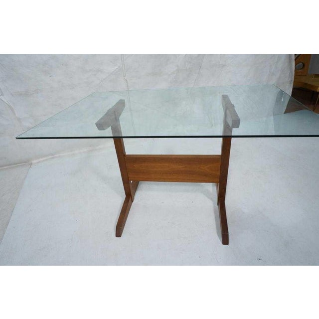 Mid-Century Modern Modernist Walnut Glass Dining Table For Sale - Image 3 of 5