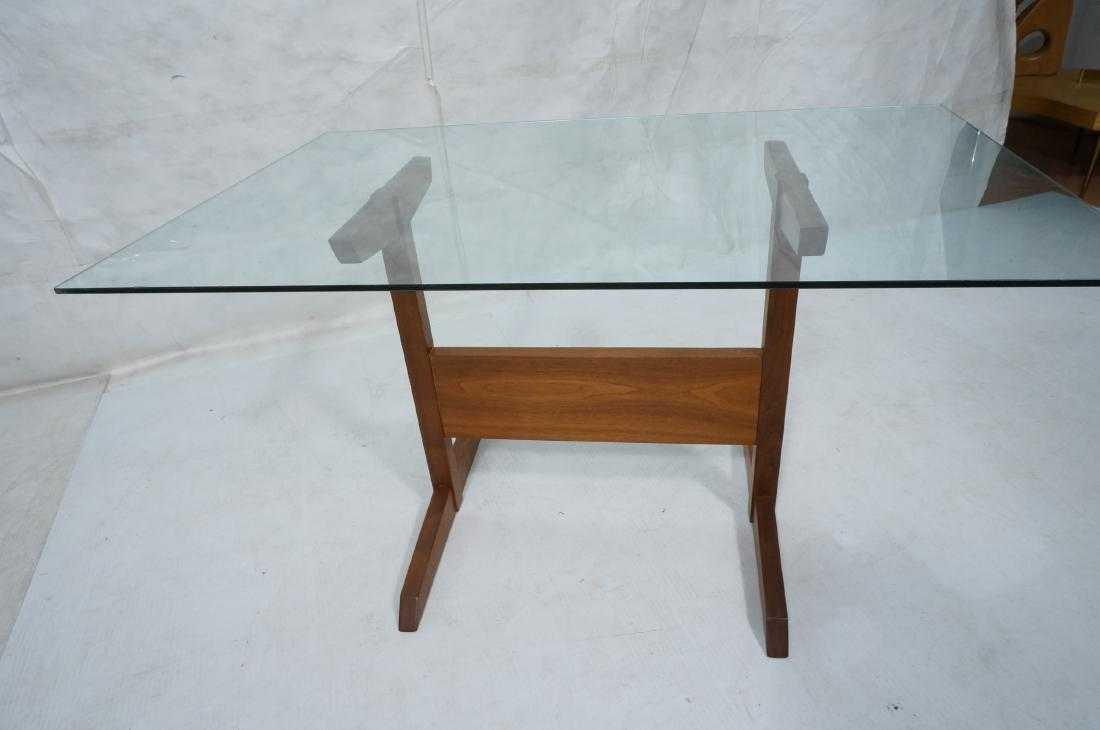 Mid Century Modern Modernist Walnut Glass Dining Table For Sale   Image 3  Of 5