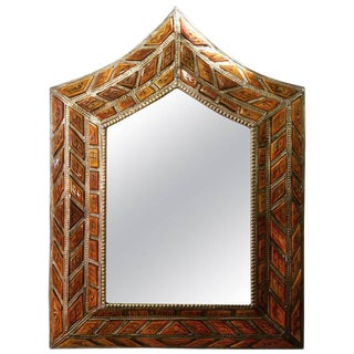 Arched Orange Camel Bone Beveled Mirror