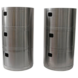 Contemporary Round Stainless Steel Side Tables by Anna Castelli for Kartell - a Pair For Sale