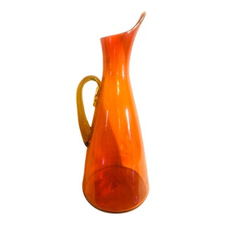 Vintage Mid Century Blown Glass Orange and Chartreuse Pitcher For Sale