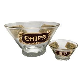 Vintage Mid-Century Clear Chips and Dip Glass Chip Serving Bowls - a Pair For Sale