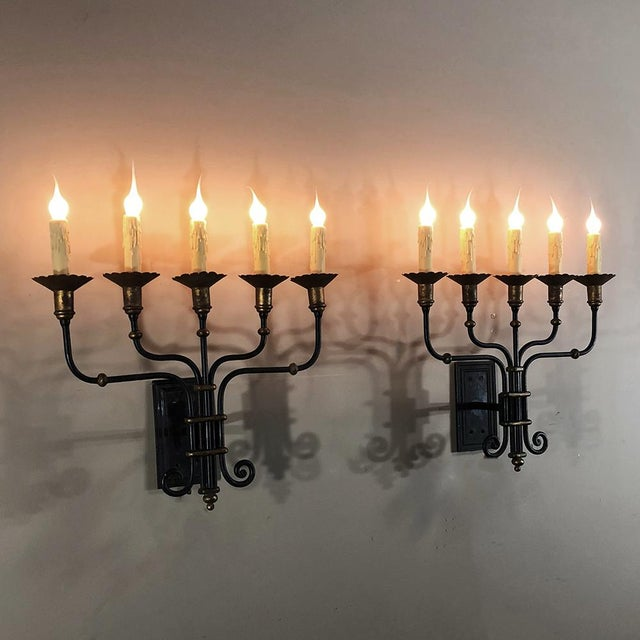 Pair Mid-Century Hand Forged Wrought Iron Country French Iron Sconces With Bronze Accents For Sale - Image 12 of 12