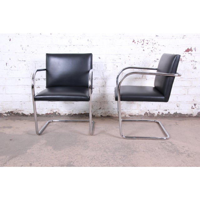 Bauhaus Mies Van Der Rohe for Knoll Black Leather and Chrome Brno Chairs - a Pair For Sale - Image 3 of 7