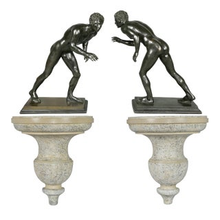 Italian Grand Tour Bronze Figures of Wrestlers - a Pair For Sale