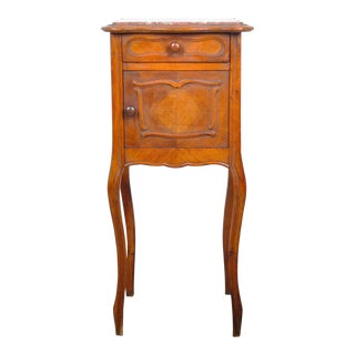 1930's French Louis XV Oak Nightstand with Pink and White Marble Top For Sale