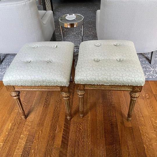 Green Louis XVI Carved Stools with Upholstered Seats - a Pair For Sale - Image 8 of 8