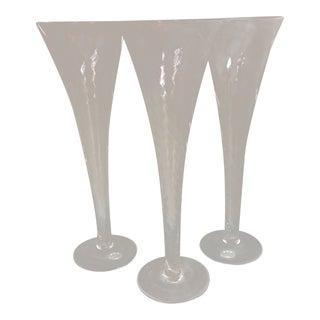 3 Spiral Twist Hand Blown Crystal Trumpet Champagne Flutes For Sale