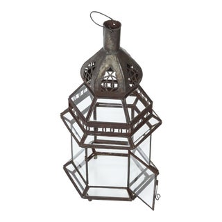 Moroccan Metal and Clear Glass Lantern For Sale