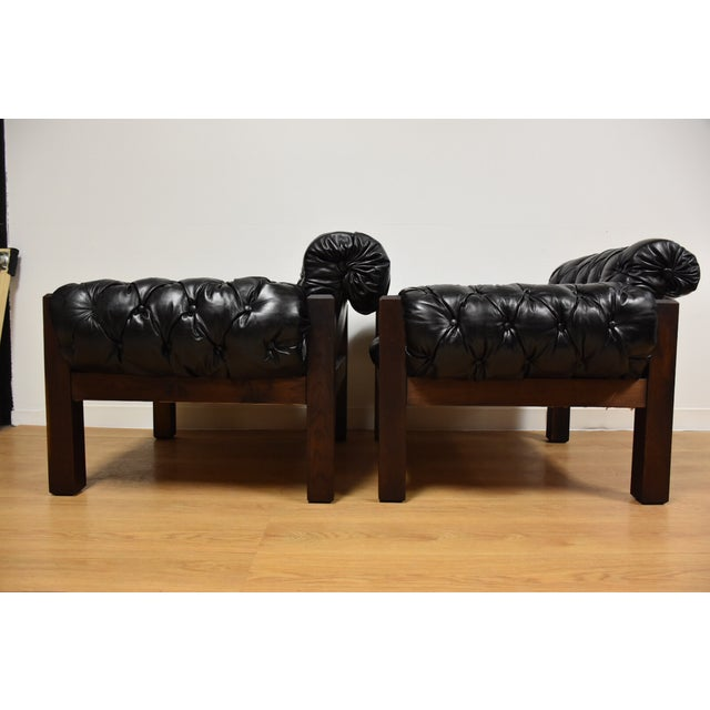 Tufted Leather Lounge Chairs - a Pair - Image 5 of 10