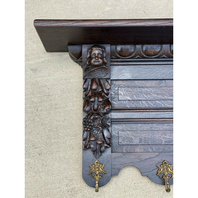 Gothic Antique French Wall Shelf Cherub Plate Rack Hat/Coat Rack For Sale - Image 3 of 12