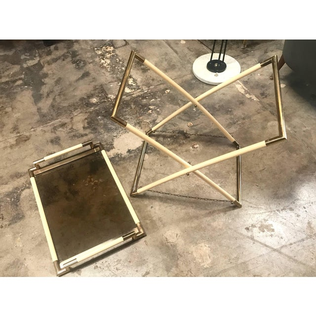 White Vintage Brass and Glass Cocktail Table For Sale - Image 8 of 9
