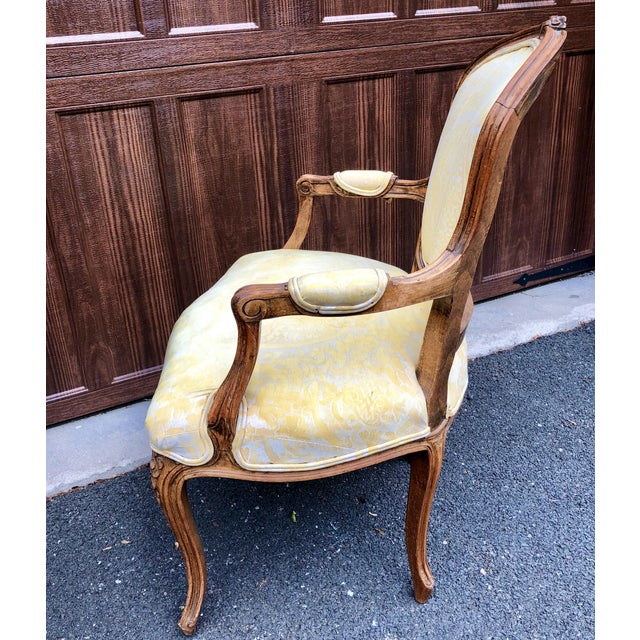 Yellow 19th Century Louis XV Fauteuil in Fortuny Fabric For Sale - Image 8 of 12