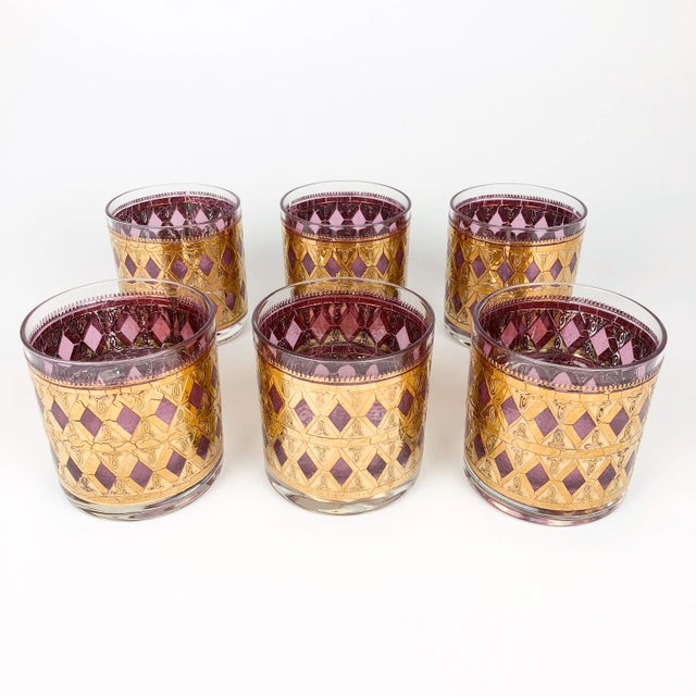 Vintage Pink/Purple and Gold Cocktail Glasses - Set of 6 For Sale - Image 4 of 8