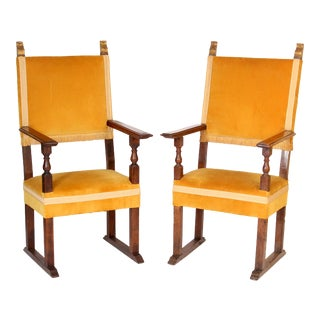 Antique Baroque Style Yellow Upholstered Walnut Armchairs - a Pair For Sale