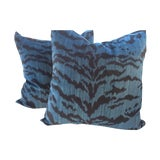 "Image of Scalamandre ""Le Tigre"" Ocean Blue Pillows - a Pair For Sale"