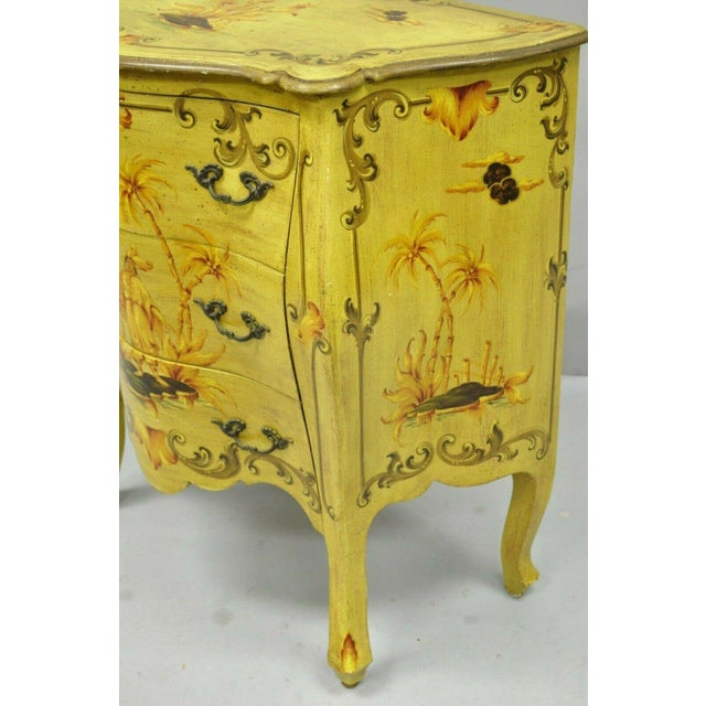Vintage Italian Hand Painted Yellow Chinoiserie Chest For Sale - Image 9 of 11