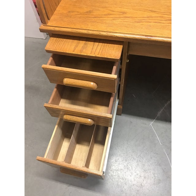 Solid Oak Roll-Top Desk With Keys - Image 7 of 10
