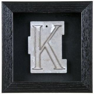 """Framed Mid-Century Spacerite Steel Letter """"K"""""""