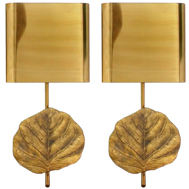 Pair of Signed Maison Charles Bronze Leaf Sconces For Sale