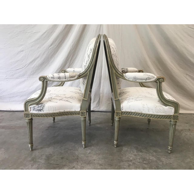 Louis XVI French Antique Painted Armchairs - a Pair For Sale - Image 3 of 13