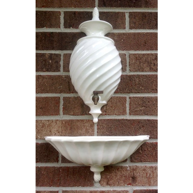 Boho Chic White and Brass Lavabo - Image 2 of 10