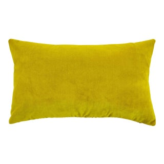 FirmaMenta Italian Chartreuse Velvet Lumbar Pillow For Sale