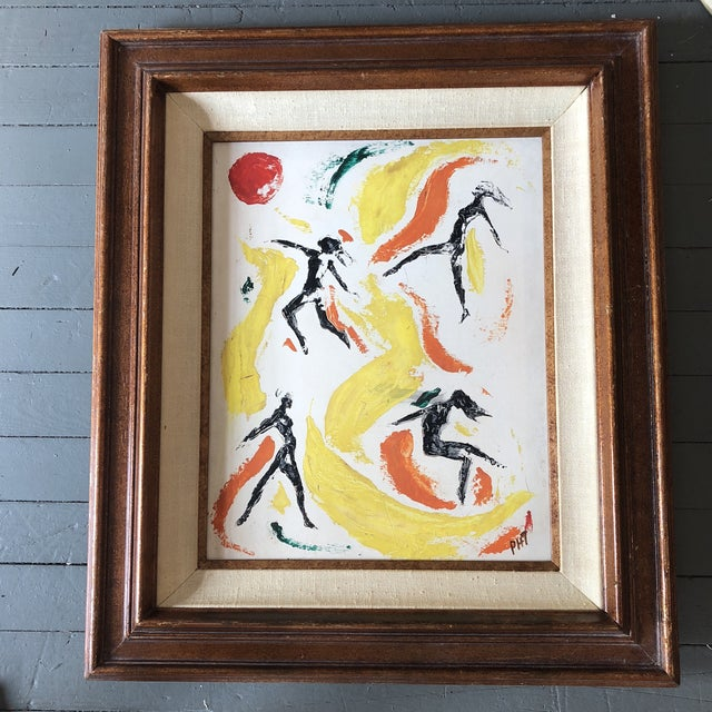 Masonite Original Vintage Female Nude Leaping Figures Abstract Painting For Sale - Image 7 of 7