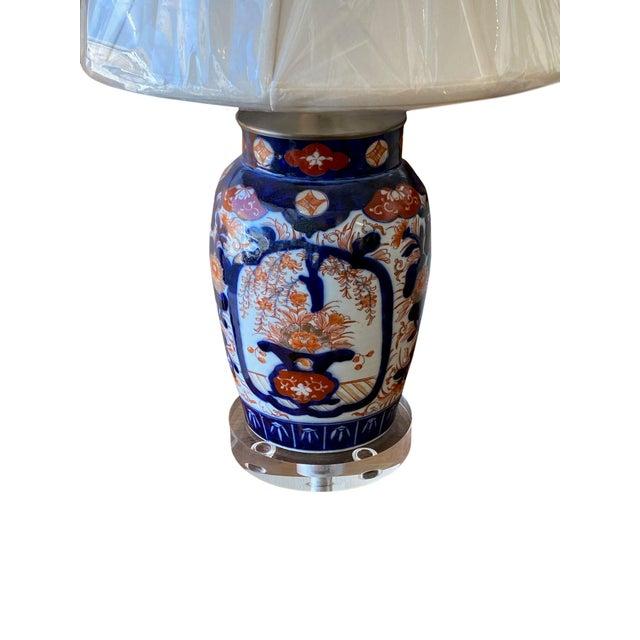 Imari Porcelain Imari Porcelain Lamp and Acrylic Base For Sale - Image 4 of 5