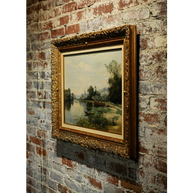 Gold Maurice Levis -Picturesque French River Scene -19th Century Oil Painting For Sale - Image 8 of 10
