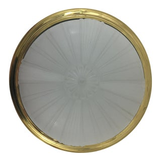 1920's Flush Mount Milk Glass Light For Sale