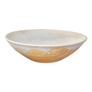 Large Organic Cream Glaze Studio Ceramic Bowl - Signed For Sale