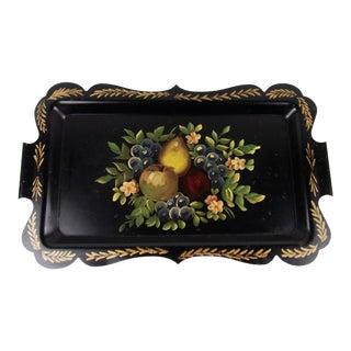 1950s Vintage Toleware Tole Tray Black Metal Fruit Floral For Sale