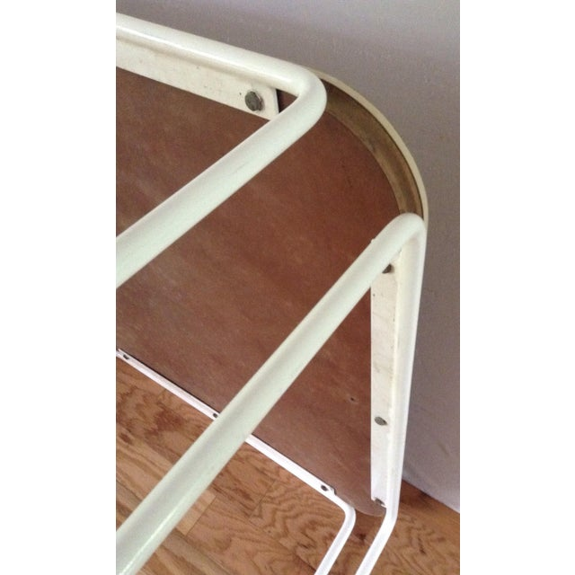 White Vintage Mid-Century Card Dinette Table Powder-Coat Hairpin Legs Off White Formica Top For Sale - Image 8 of 11