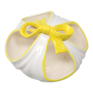 Fitz and Floyd Ceramic Sack and Ribbon Bowl For Sale