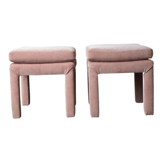 Blush Pink Pearson Upholstered Ottomans - a Pair