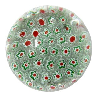 Vintage Murano Hand Blown Millefiori Glass Paper Weight For Sale