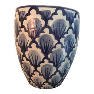 Boho Chic Blue & White Ceramic Pottery Waste Basket