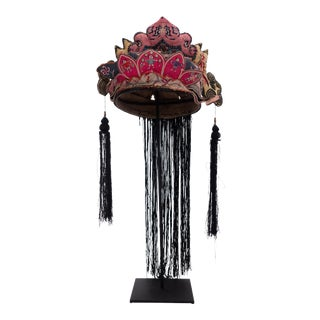 Antique Hand Embroidered Silk Miao Minority Tribe Child's Headdress For Sale